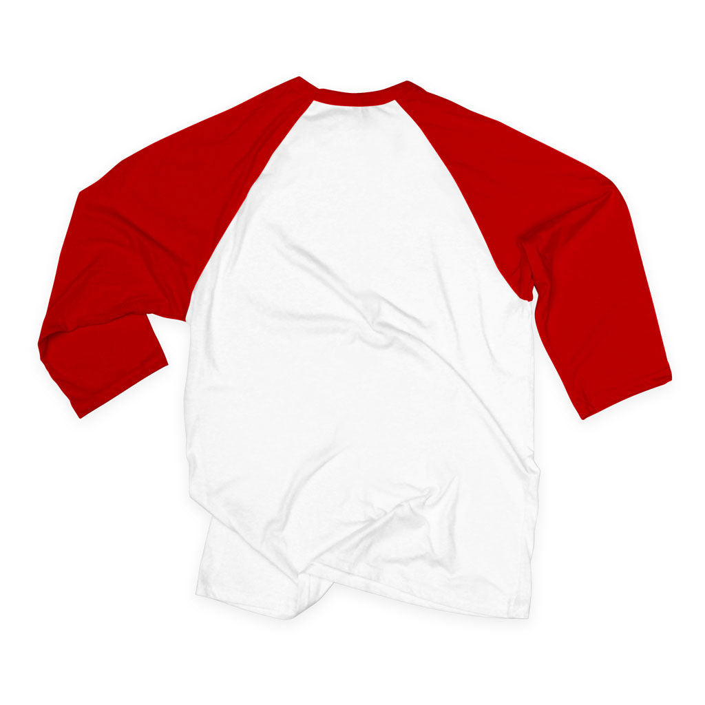 Back of Stick it Wear?! 'RED HOT' baseball practice t-shirt in white with red sleeves.
