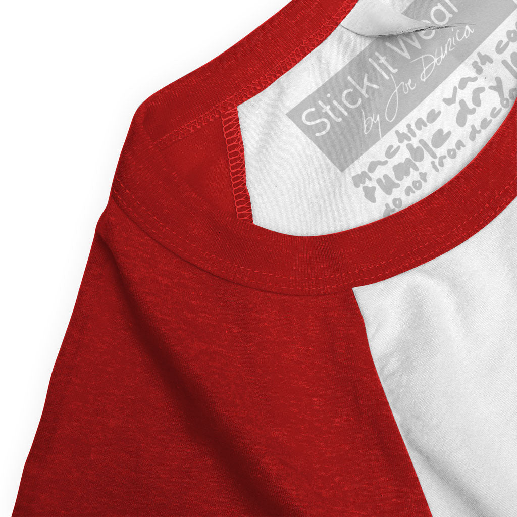 Collar of Stick it Wear?! 'RED HOT' baseball practice t-shirt in white with red sleeves.