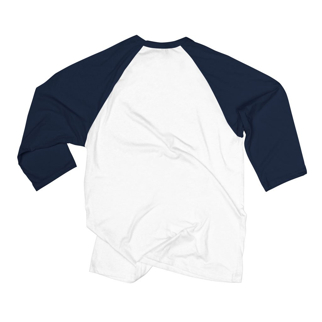 Back of Stick it Wear?! 'ROCKET LAUNCHER' baseball practice t-shirt in white with navy sleeves.