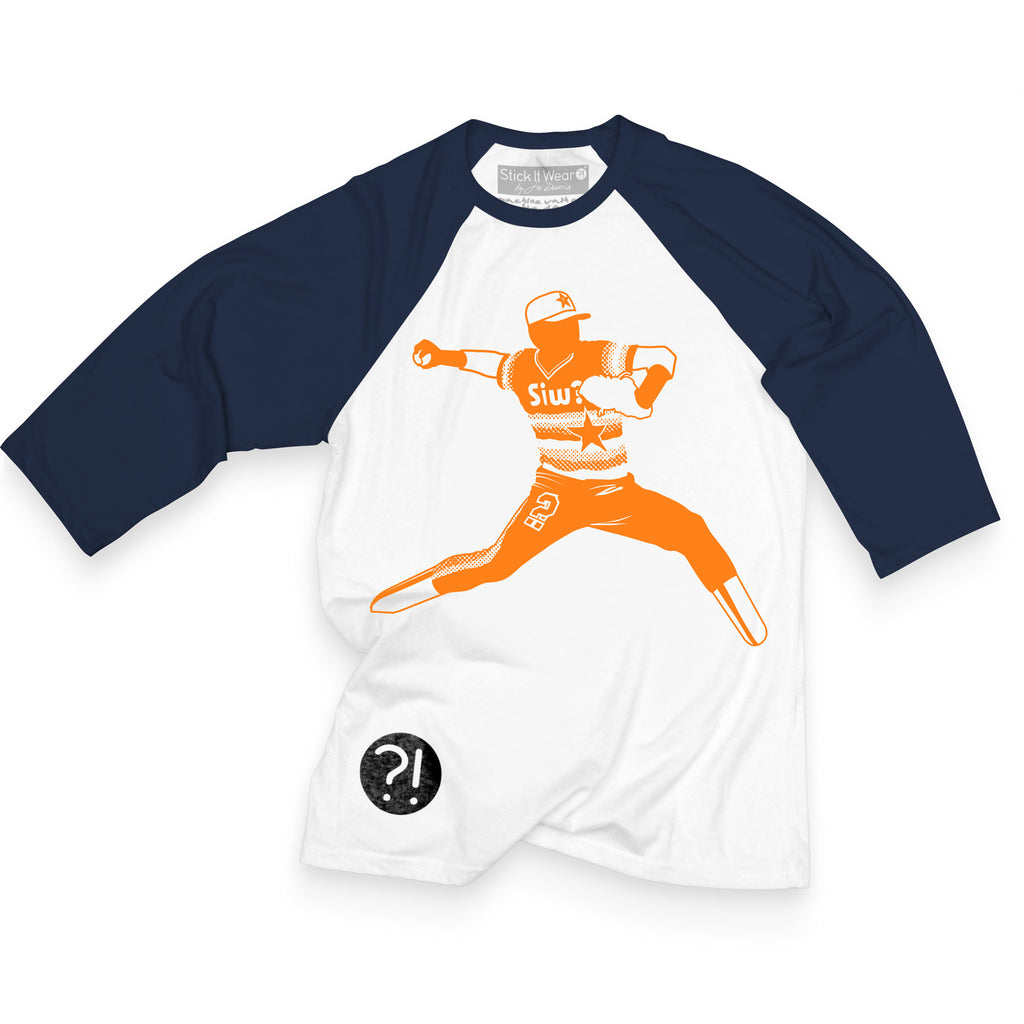 Front of Stick it Wear?! 'ROCKET LAUNCHER' baseball practice t-shirt in white with navy sleeves.