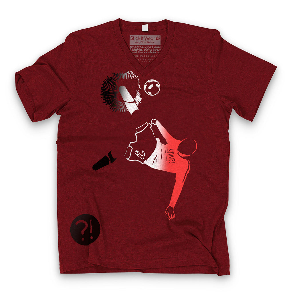 Front of Stick it Wear?! 'ROO BOY' Soccer V-Neck Tee in cardinal.