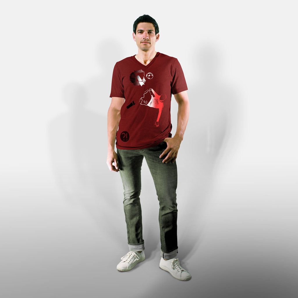 Model wearing Stick it Wear?! 'ROO BOY' Soccer V-Neck Tee in cardinal.