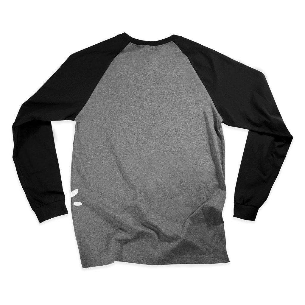 Back of Stick It Wear?! 'ROYALTY' Starting-line long shirt in heather with black sleeves.