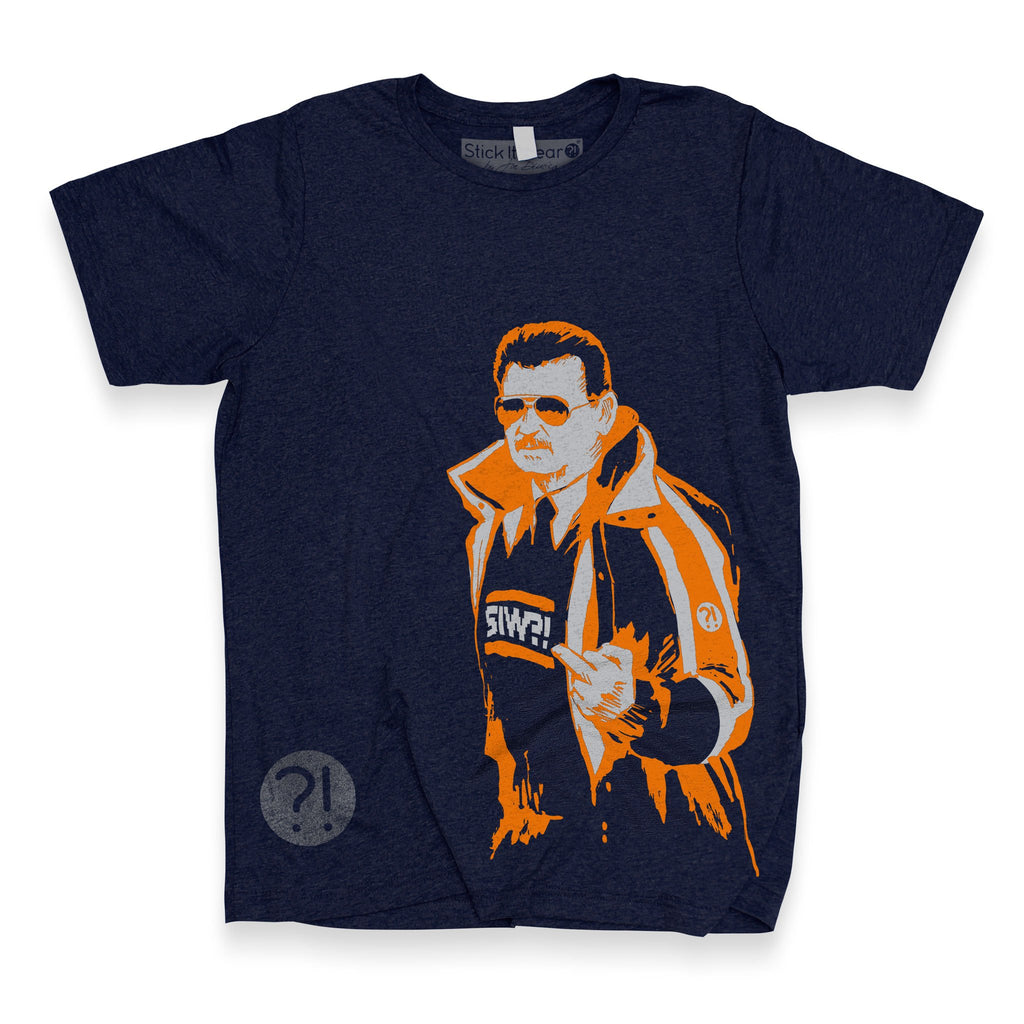Front of Stick it Wear?! 'RUN DIS POST' football crew t-shirt in navy.