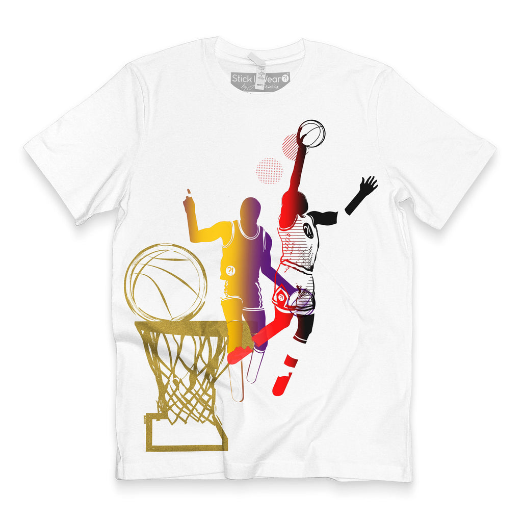 Front of Stick It Wear?! 'DYNASTIC BLING 1' basketball crew tee in white.