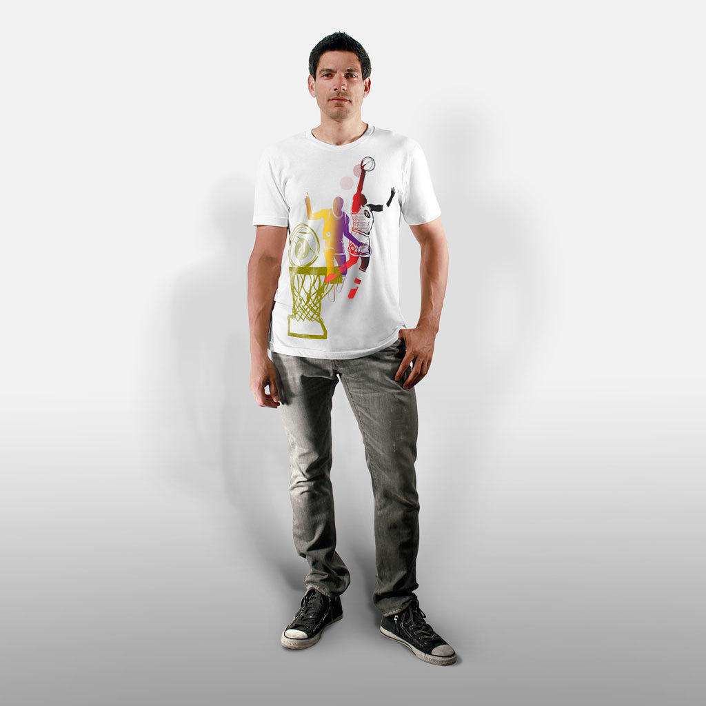 Model wearing Stick It Wear?! 'DYNASTIC BLING 1' basketball crew tee in white.