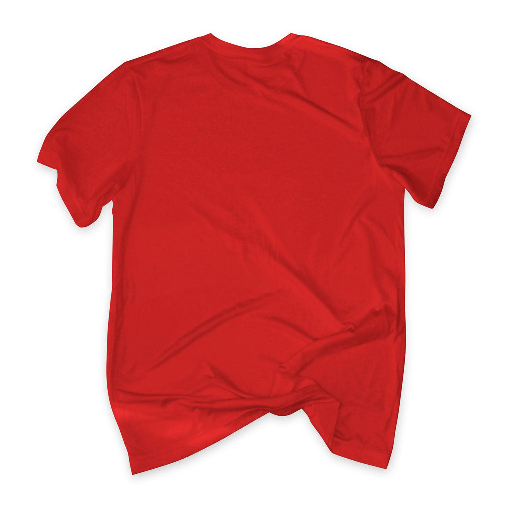 Back of Stick It Wear?! 'DYNASTIC BLING 2' crew tee in red.