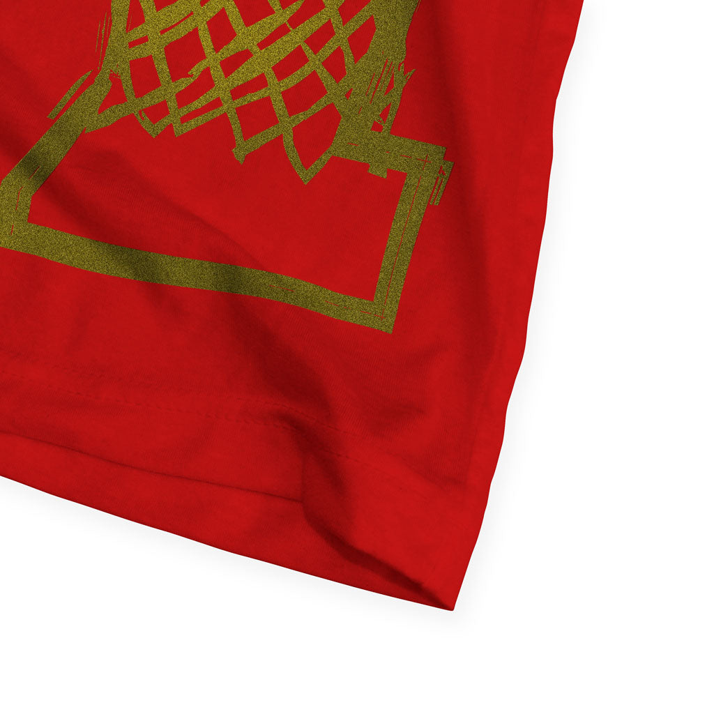 Bottom hem of Stick It Wear?! 'DYNASTIC BLING 2' crew tee in red.