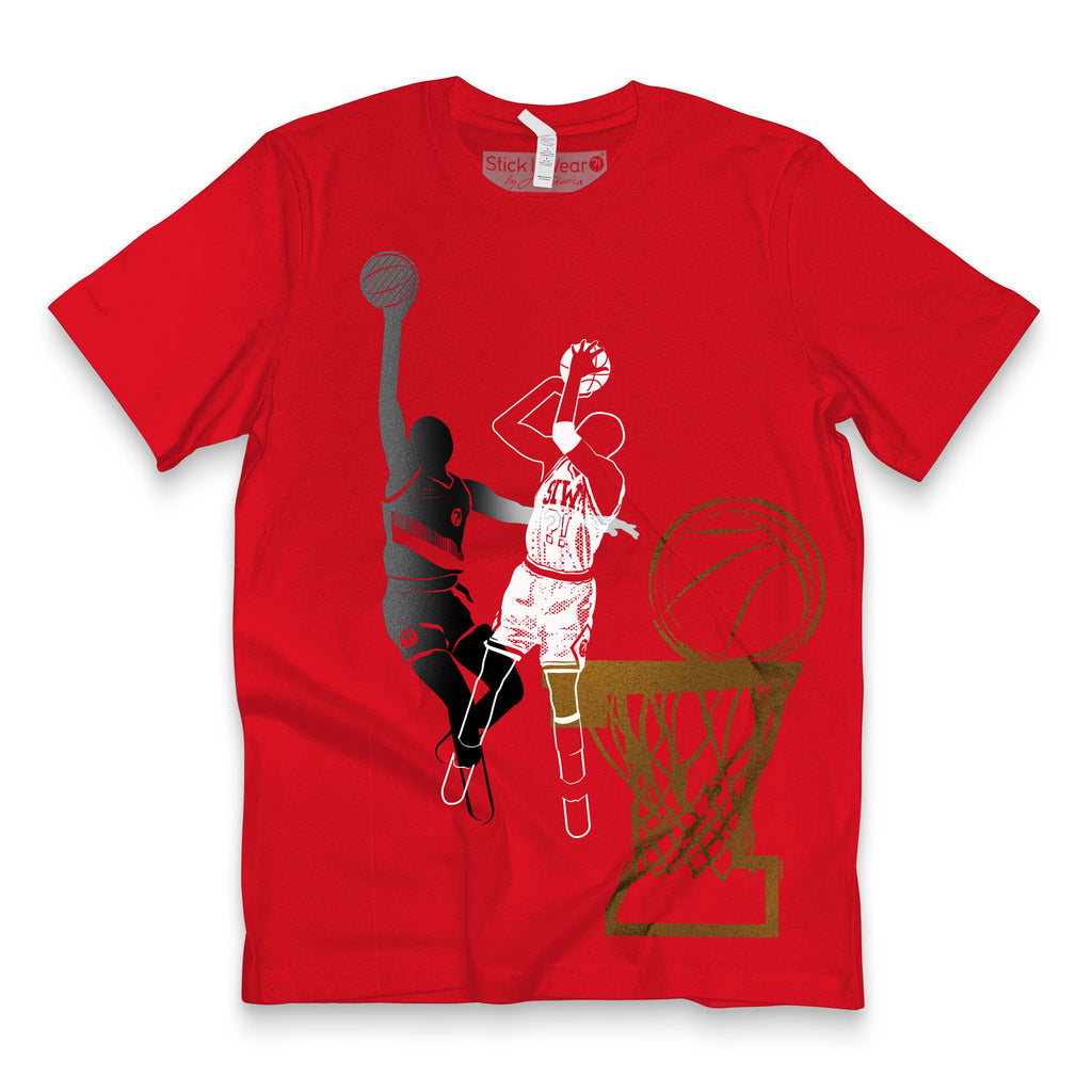 Front of Stick It Wear?! 'DYNASTIC BLING 2' basketball crew tee in red.
