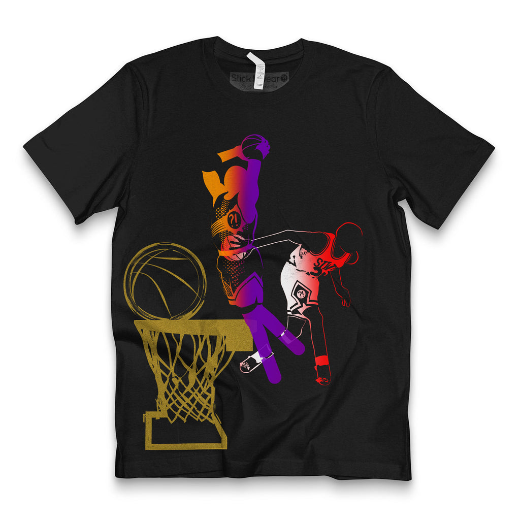 Front of Stick It Wear?! 'DYNASTIC BLING 3' basketball crew tee in black.