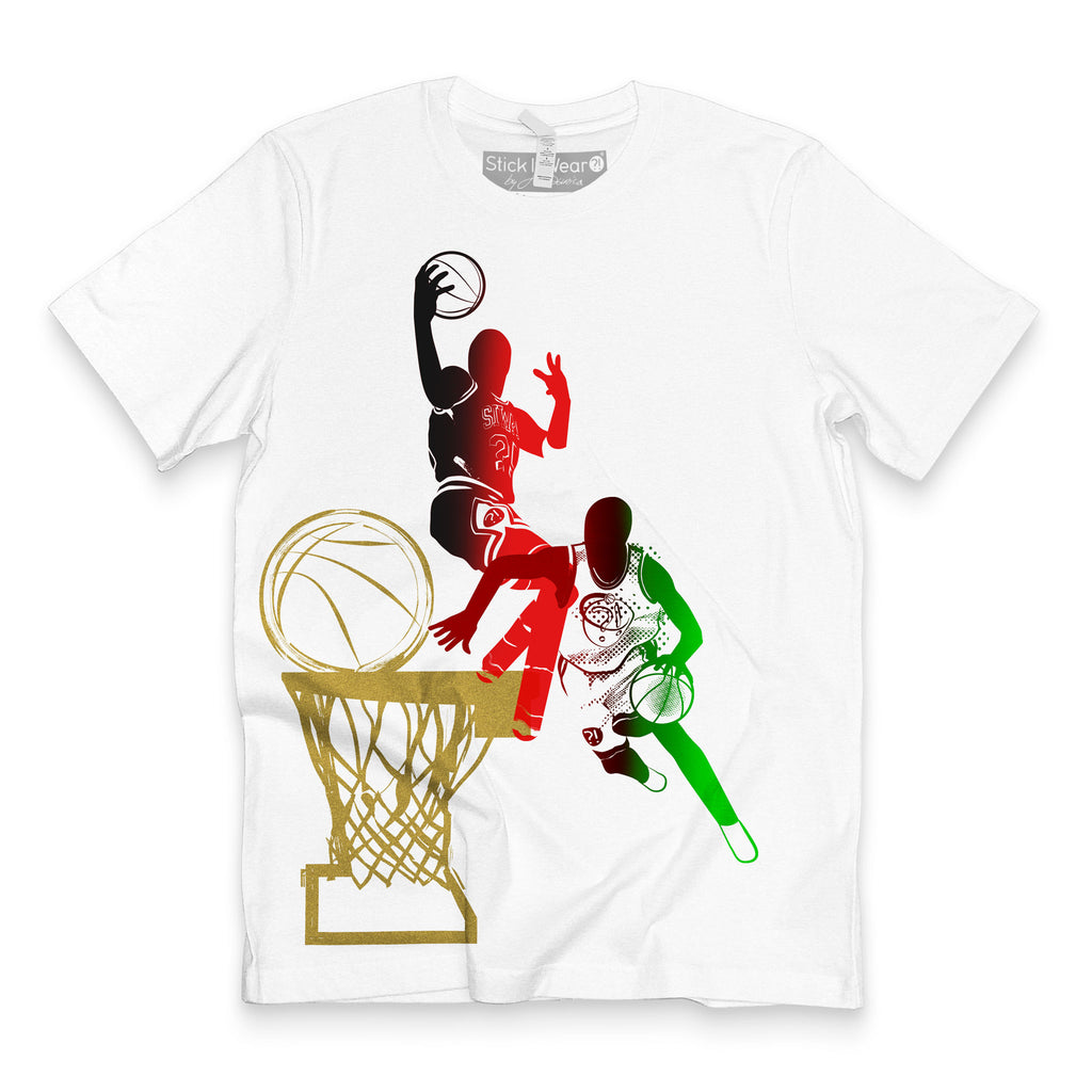 Front of Stick It Wear?! 'DYNASTIC BLING 4' basketball crew tee in white.