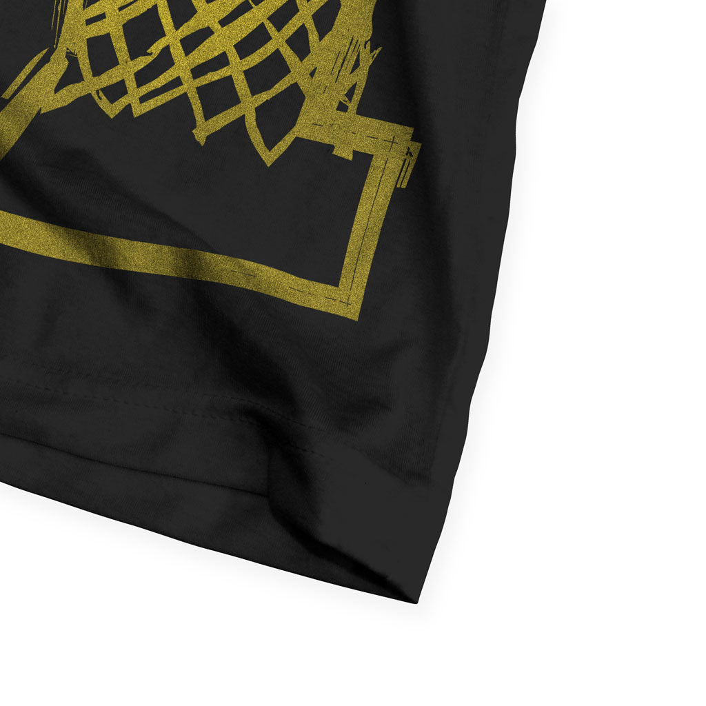 Bottom hem of Stick It Wear?! 'DYNASTIC BLING 5' crew tee in black.