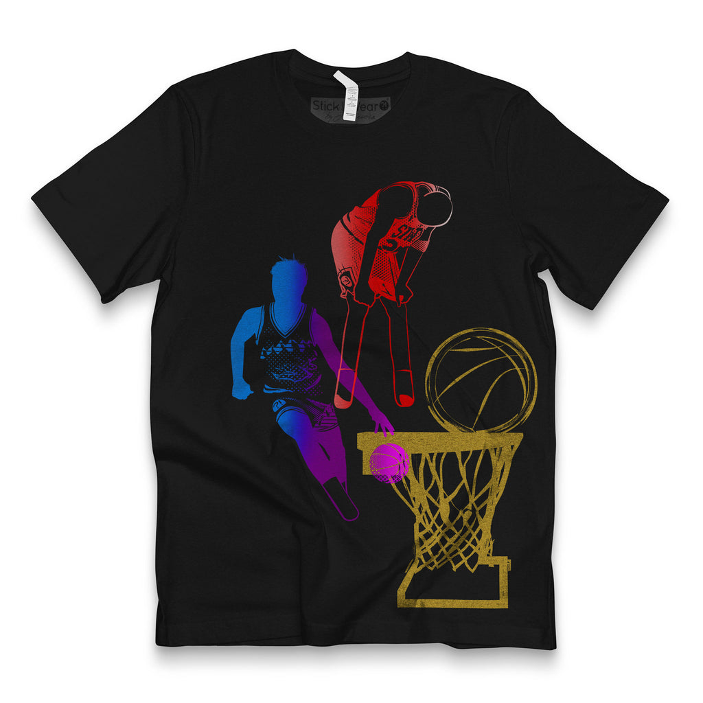Front of Stick It Wear?! 'DYNASTIC BLING 5' basketball crew tee in black.