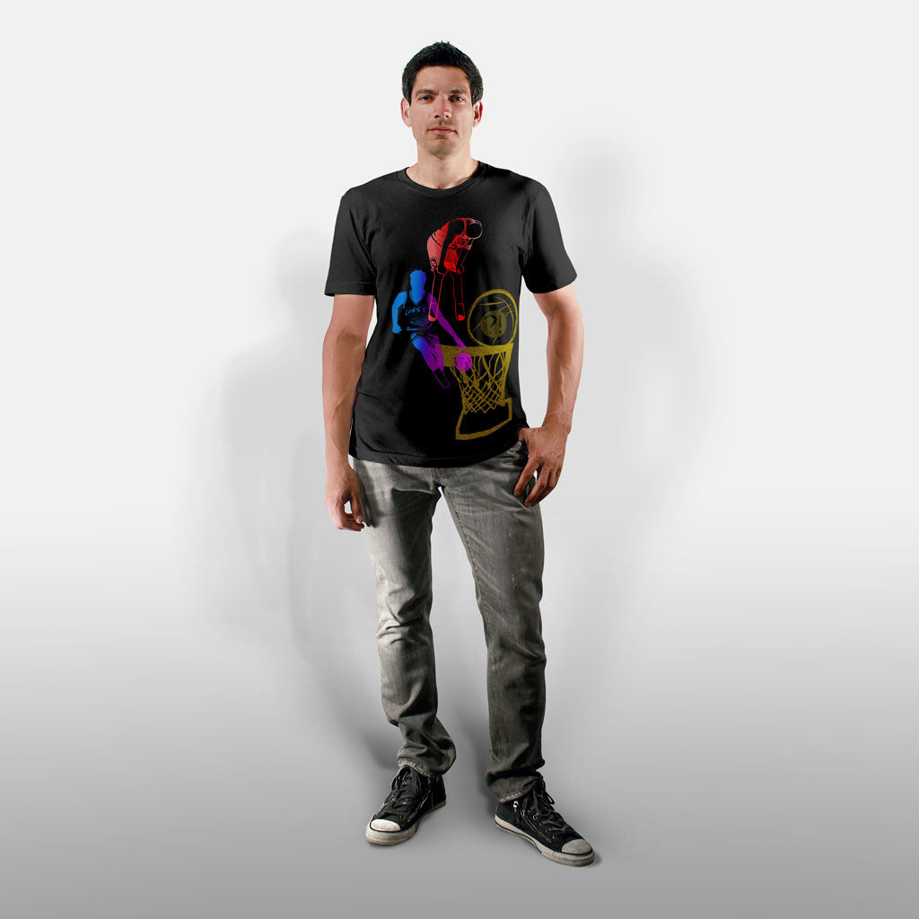 Model wearing Stick It Wear?! 'DYNASTIC BLING 5' crew tee in black.