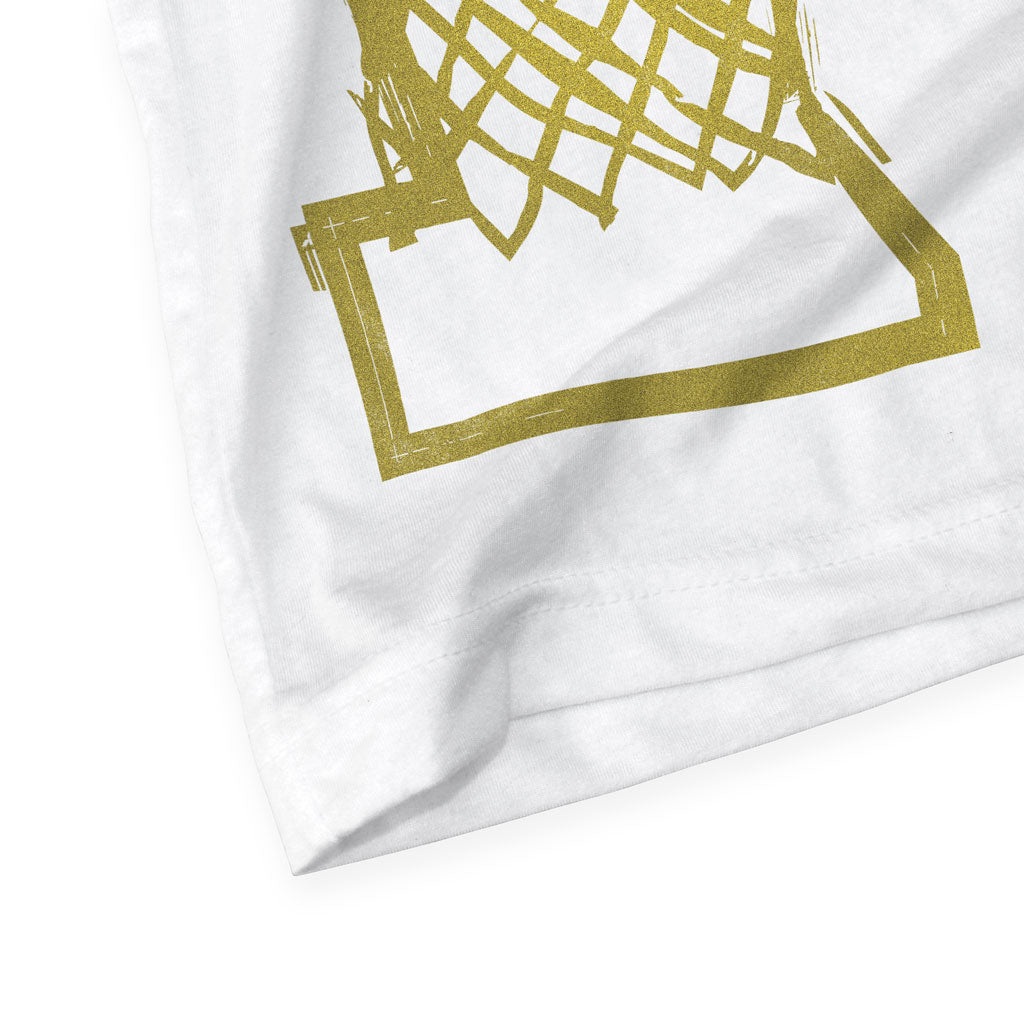 Bottom hem of Stick It Wear?! 'DYNASTIC BLING 6' basketball crew tee in white.