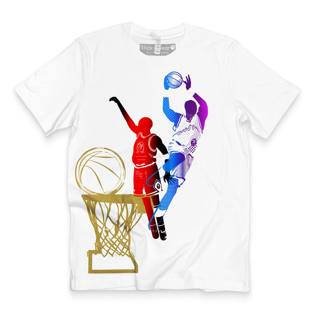 Front of Stick It Wear?! 'DYNASTIC BLING 6' basketball crew tee in white.