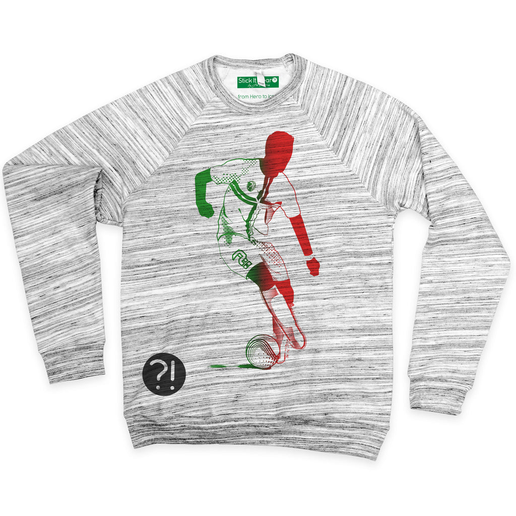 Front of Stick it Wear?! 'SEE RONNIE STEPOVER AGAIN' Soccer sweatshirt in marble.