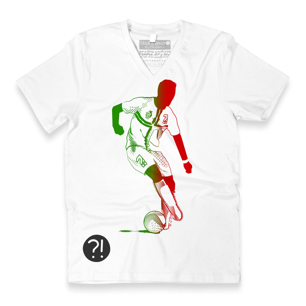 Front of Stick It Wear?! 'SEE RONNIE STEPOVER AGAIN' Soccer V-Neck t-shirt in white.