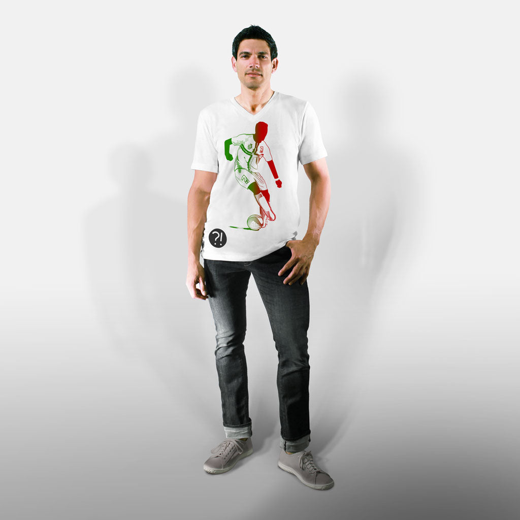 Model wearing Stick It Wear?! 'SEE RONNIE STEPOVER AGAIN' Soccer V-Neck t-shirt in white.