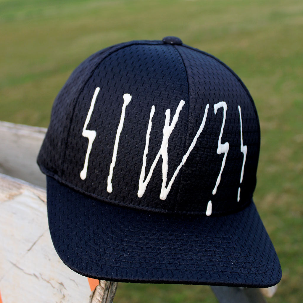 6 panel Stick It Wear?! black baseball cap constructed of jersey material.
