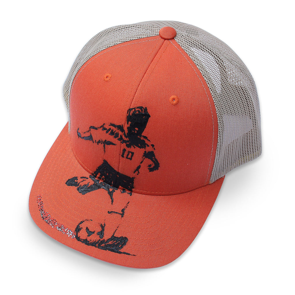 6 panel Stick It Wear?! orange & beige soccer cap with brim.