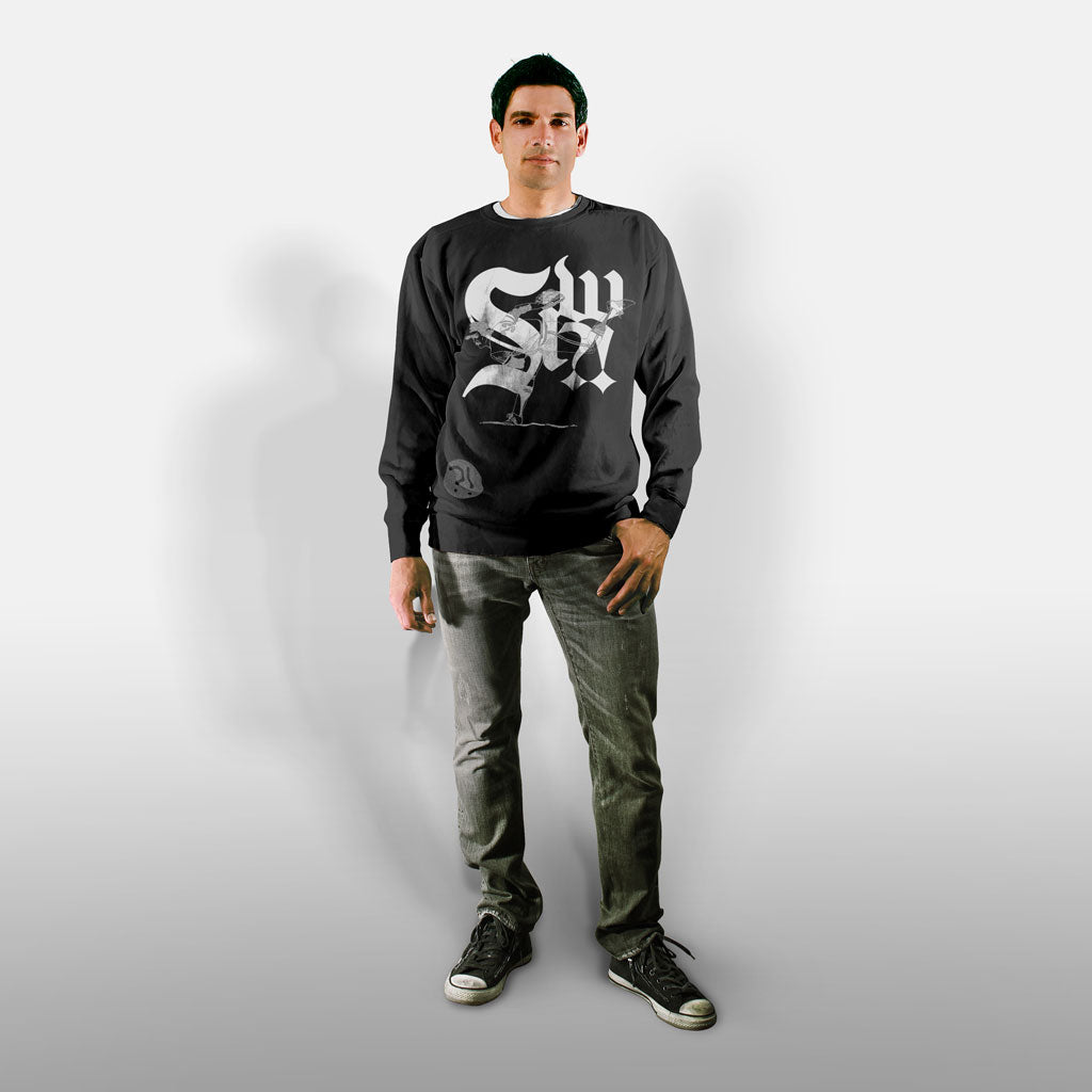 Model wearing Stick it Wear?! 'SOUTH SIDER' baseball Front Office sweatshirt in black.