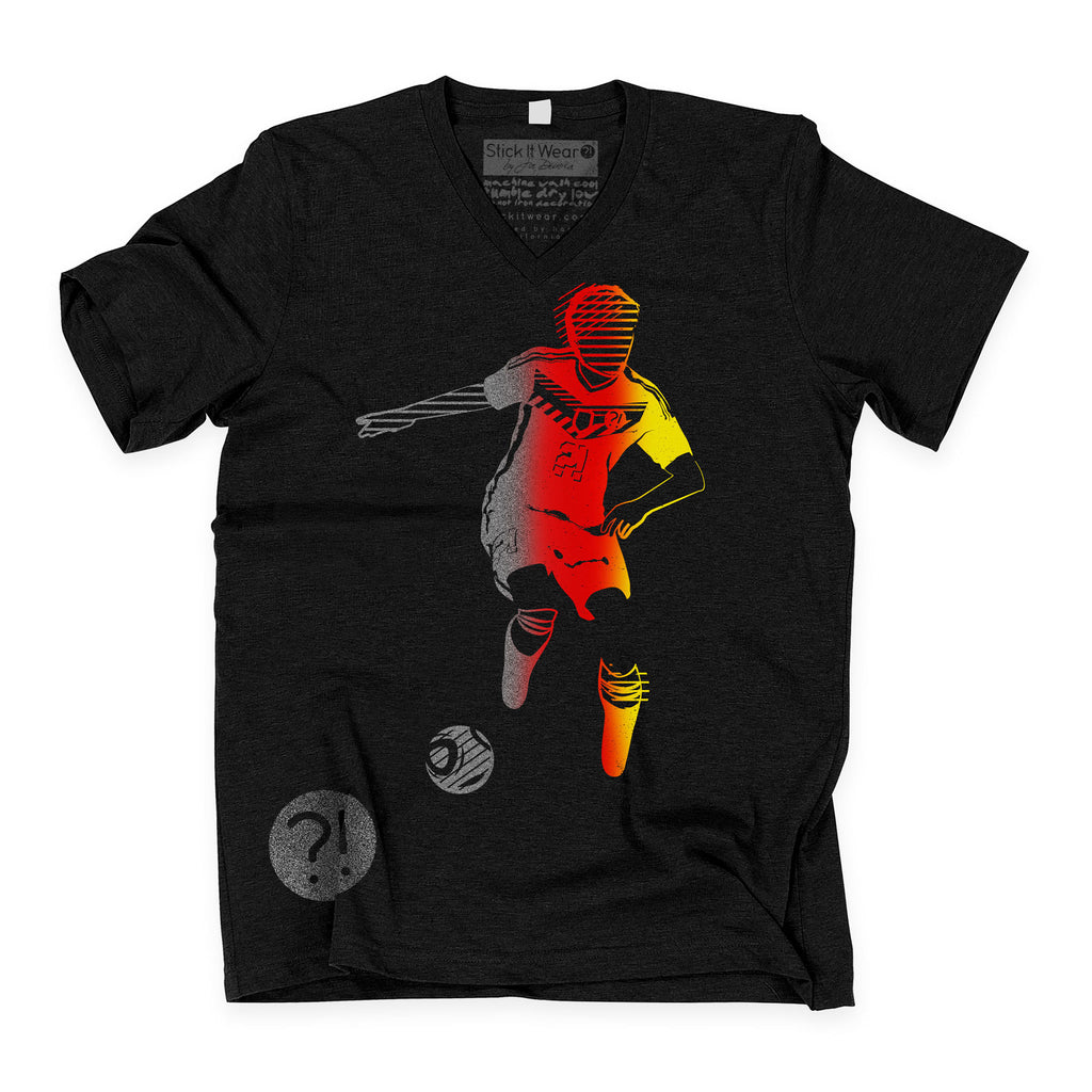 Front of Stick It Wear?! 'SPACE INVESTIGATOR' Soccer V-Neck t-shirt in black.