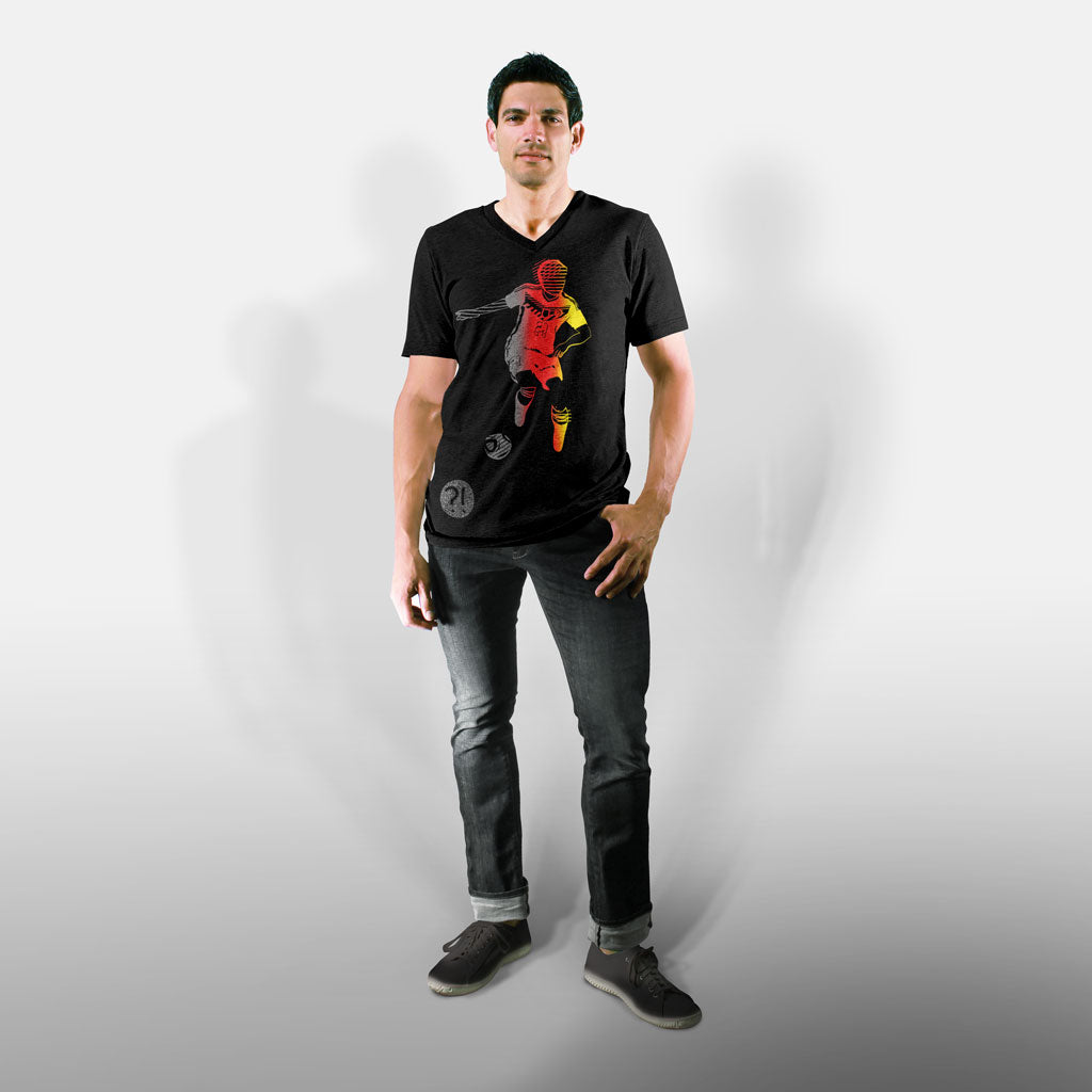 Model wearing Stick It Wear?! 'SPACE INVESTIGATOR' Soccer V-Neck t-shirt in black.