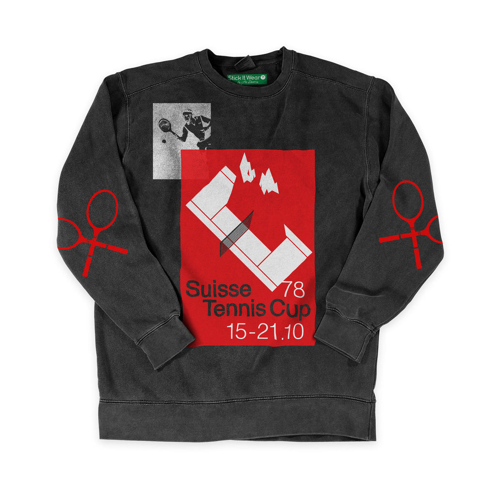 Front of Stick it Wear?! 'SUISSE TENNIS CUP' Tennis Tournament sweatshirt in charcoal.