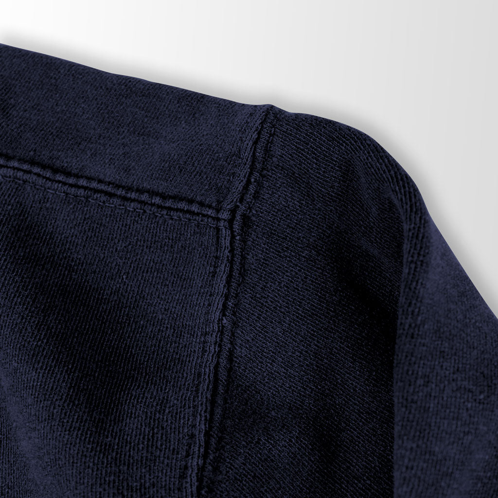 Shoulder of Stick it Wear?! 'SWEET RUN' Football Front Office sweatshirt in navy.