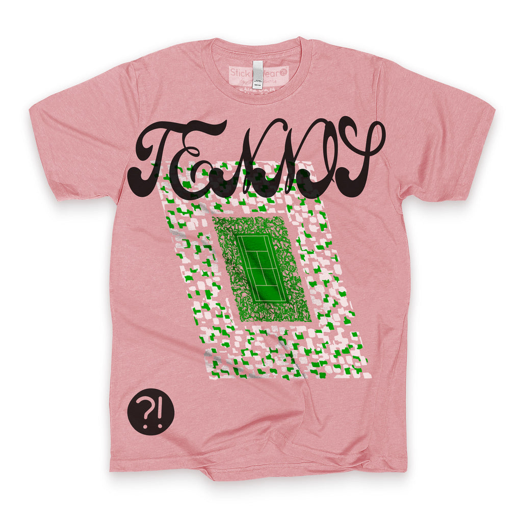 Front of Stick it Wear?! 'TEN_NIS' Tennis Crew T-shirt in orchid.