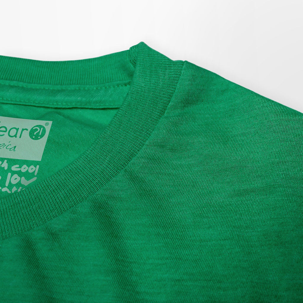 Collar of Stick It Wear?! 'THE JUAN' First Serve Tennis Tee in green.