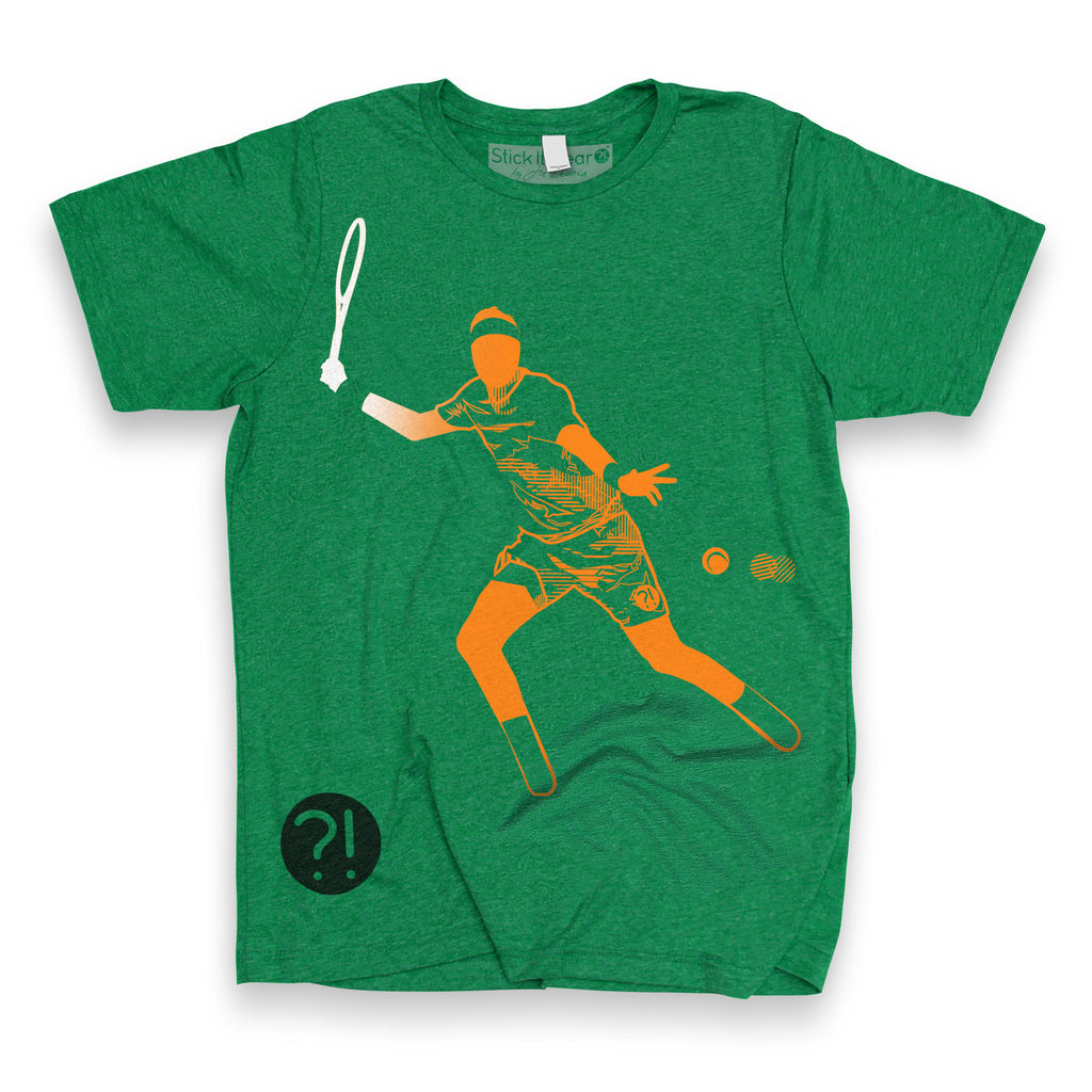 Front of Stick It Wear?! 'THE JUAN' First Serve Tennis Tee in green.