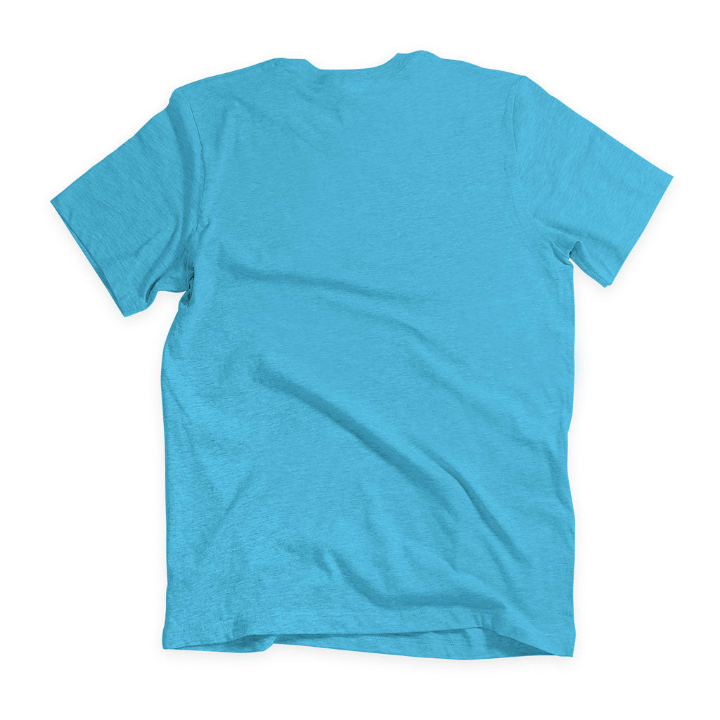Back of Stick It Wear?! 'THE MAN' First Serve Tennis Tee in aqua.