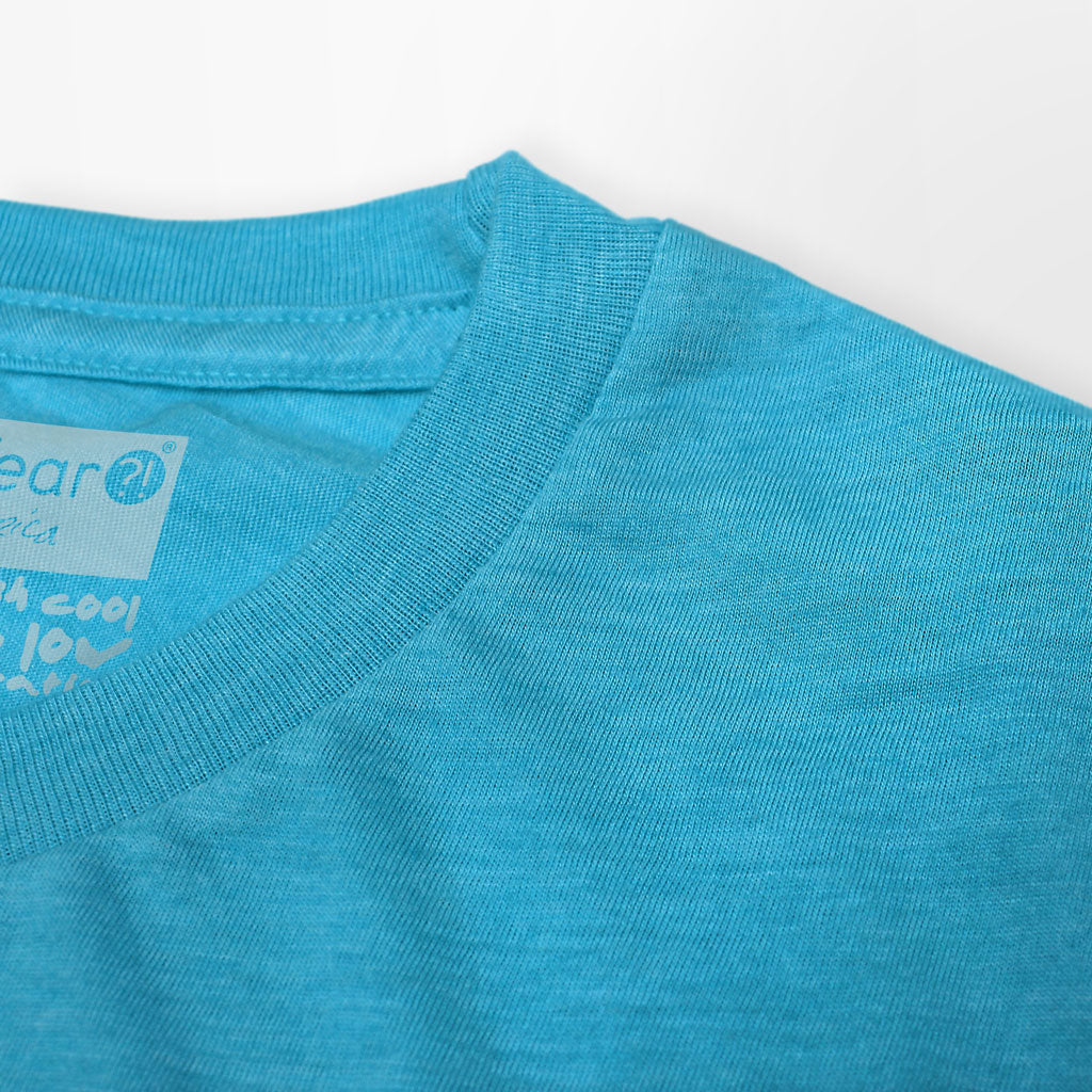 Collar of Stick It Wear?! 'THE MAN' First Serve Tennis Tee in aqua.