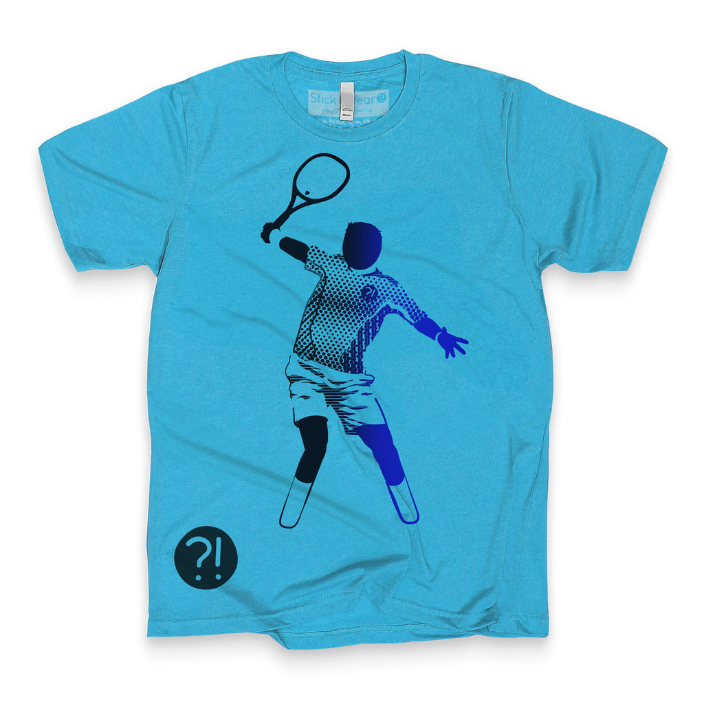 Front of Stick It Wear?! 'THE MAN' First Serve Tennis Tee in aqua.