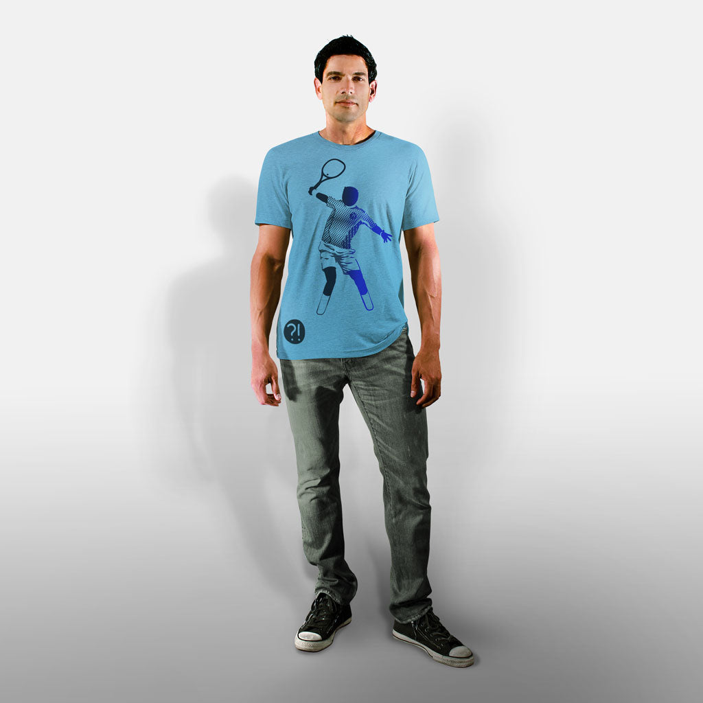 Model wearing Stick It Wear?! 'THE MAN' First Serve Tennis Tee in aqua.