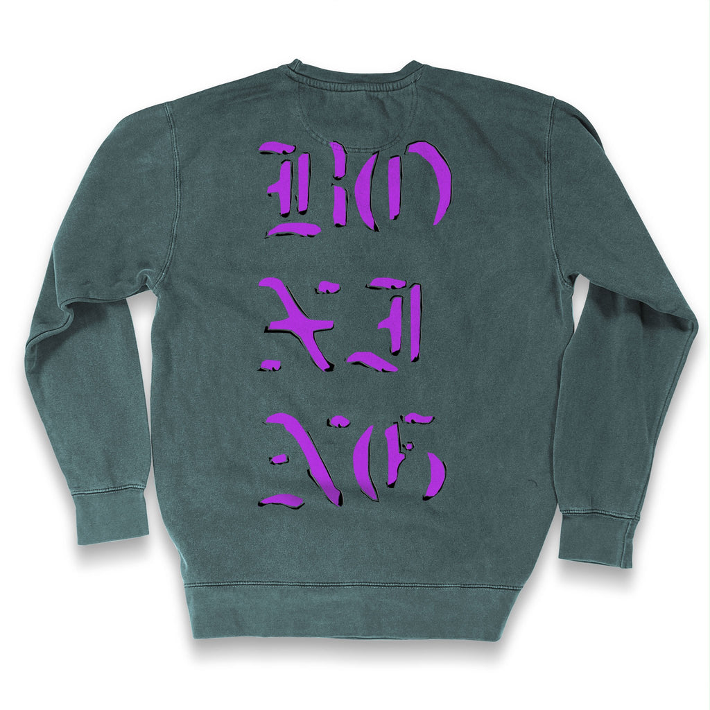 Back of Stick It Wear?! 'THE PUNCH MATRIX' Promoter's Sweater in moss.
