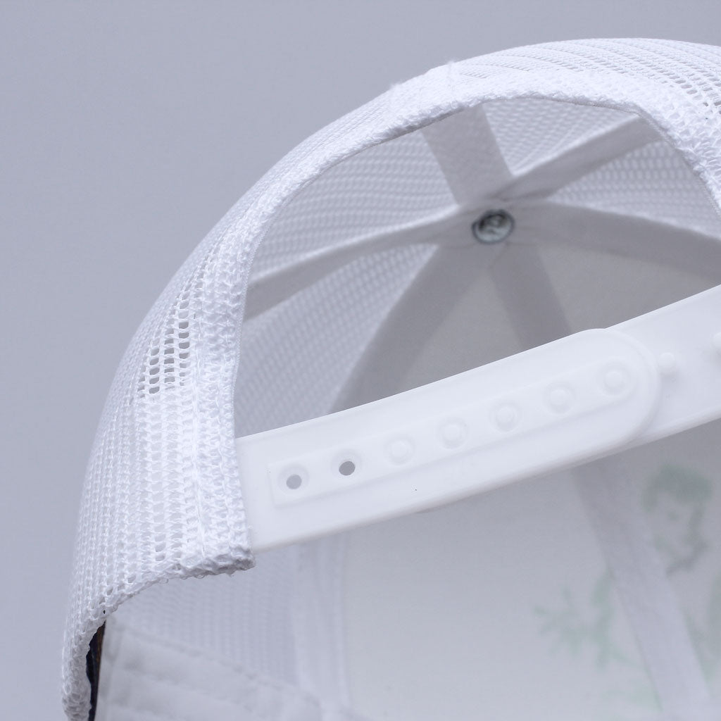 Back of 6 panel Stick It Wear?! white tennis cap with brim.