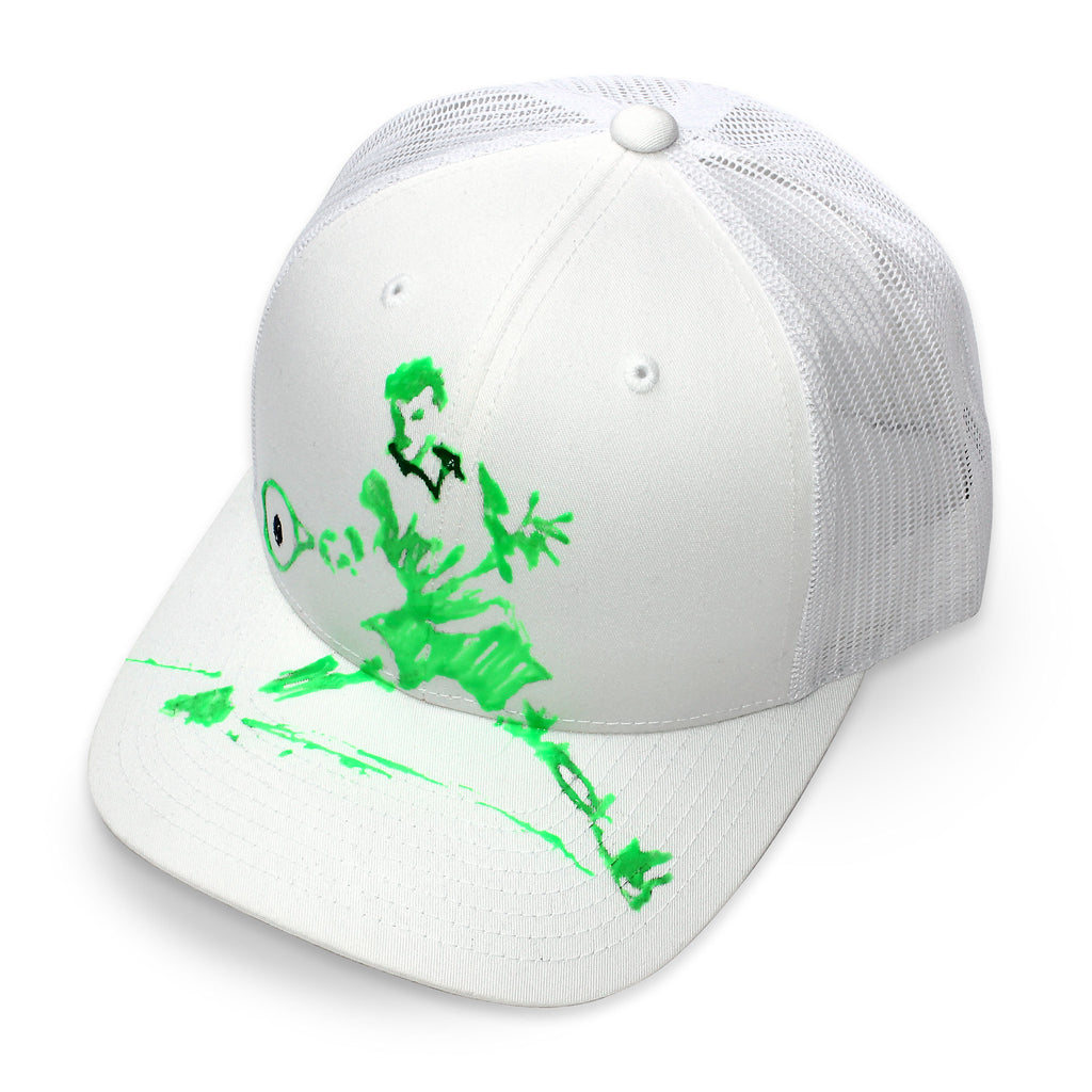 Front of 6 panel Stick It Wear?! white tennis cap with brim.