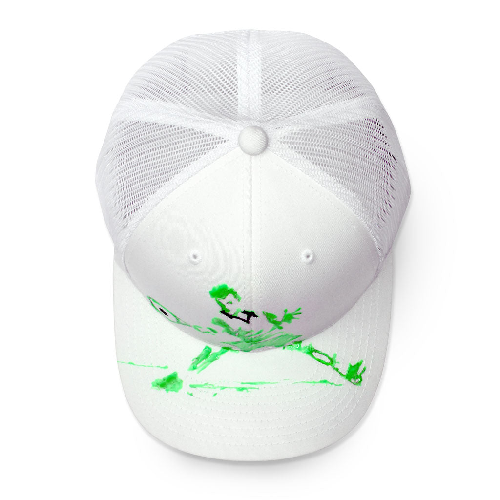 Top of 6 panel Stick It Wear?! white tennis cap with brim.
