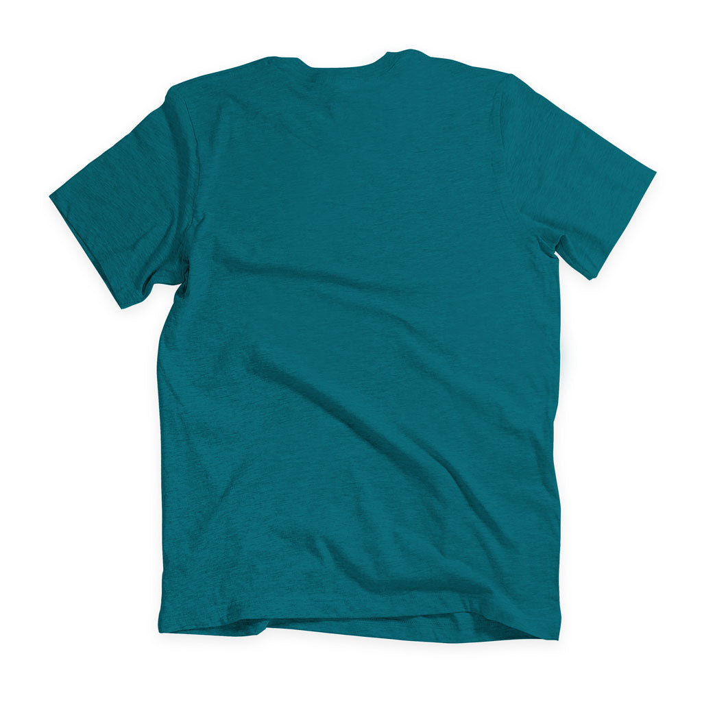Back of Stick It Wear?! 'TRAPPING CANNON' Soccer V-Neck t-shirt in teal.