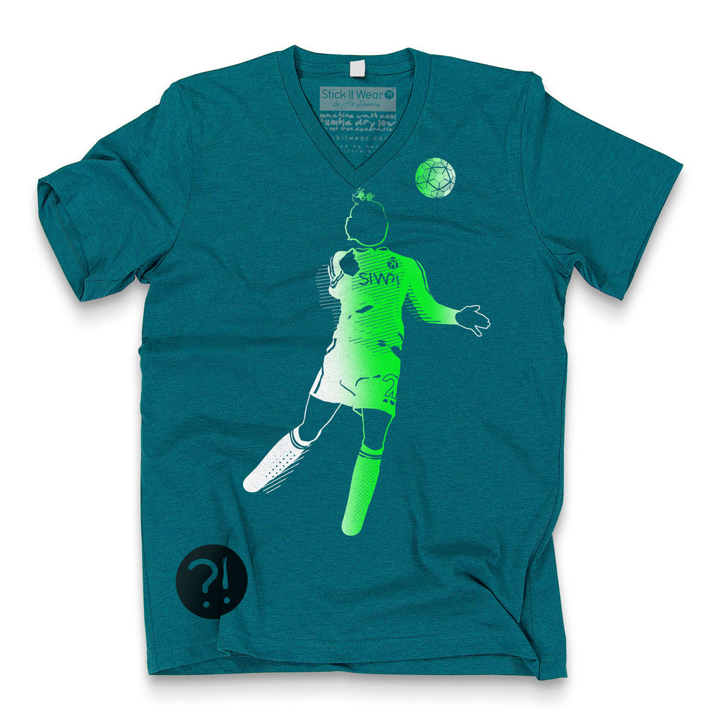 Front of Stick It Wear?! 'TRAPPING CANNON' Soccer V-Neck t-shirt in teal.