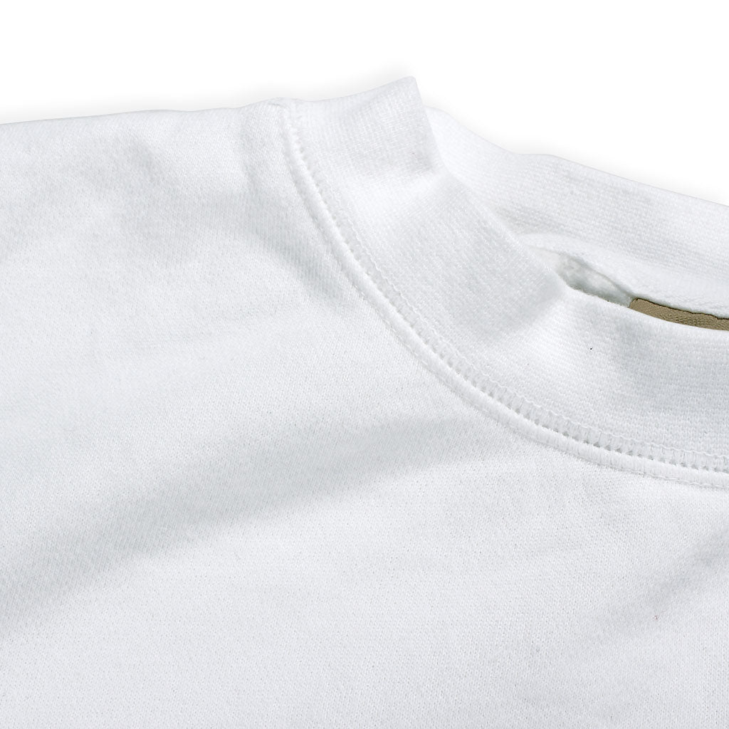Collar of Stick it Wear?! 'WHY SO SSSERIOUS' Hockey Front Office sweatshirt in white.