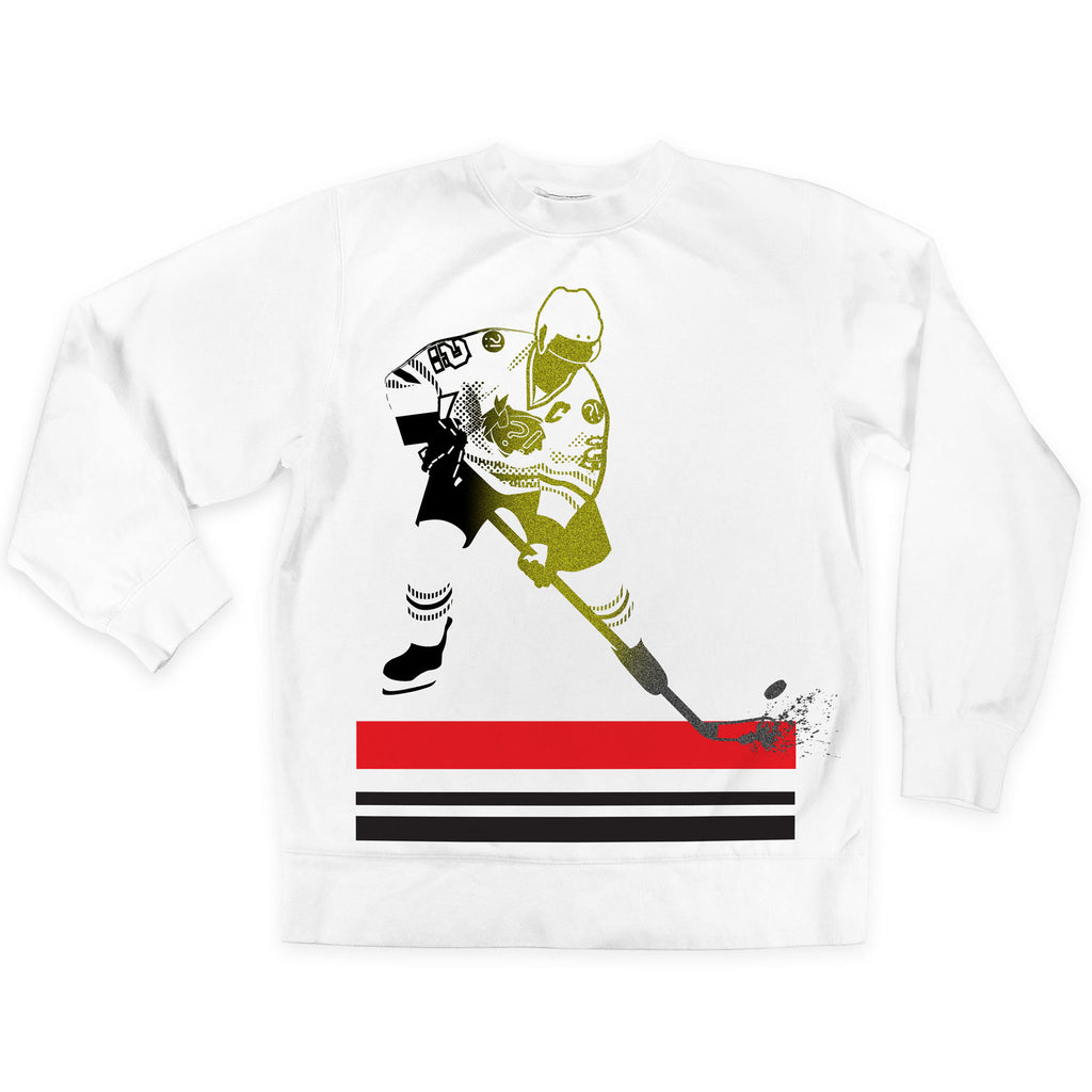Front of Stick it Wear?! 'WHY SO SSSERIOUS' Hockey Front Office sweatshirt in white.