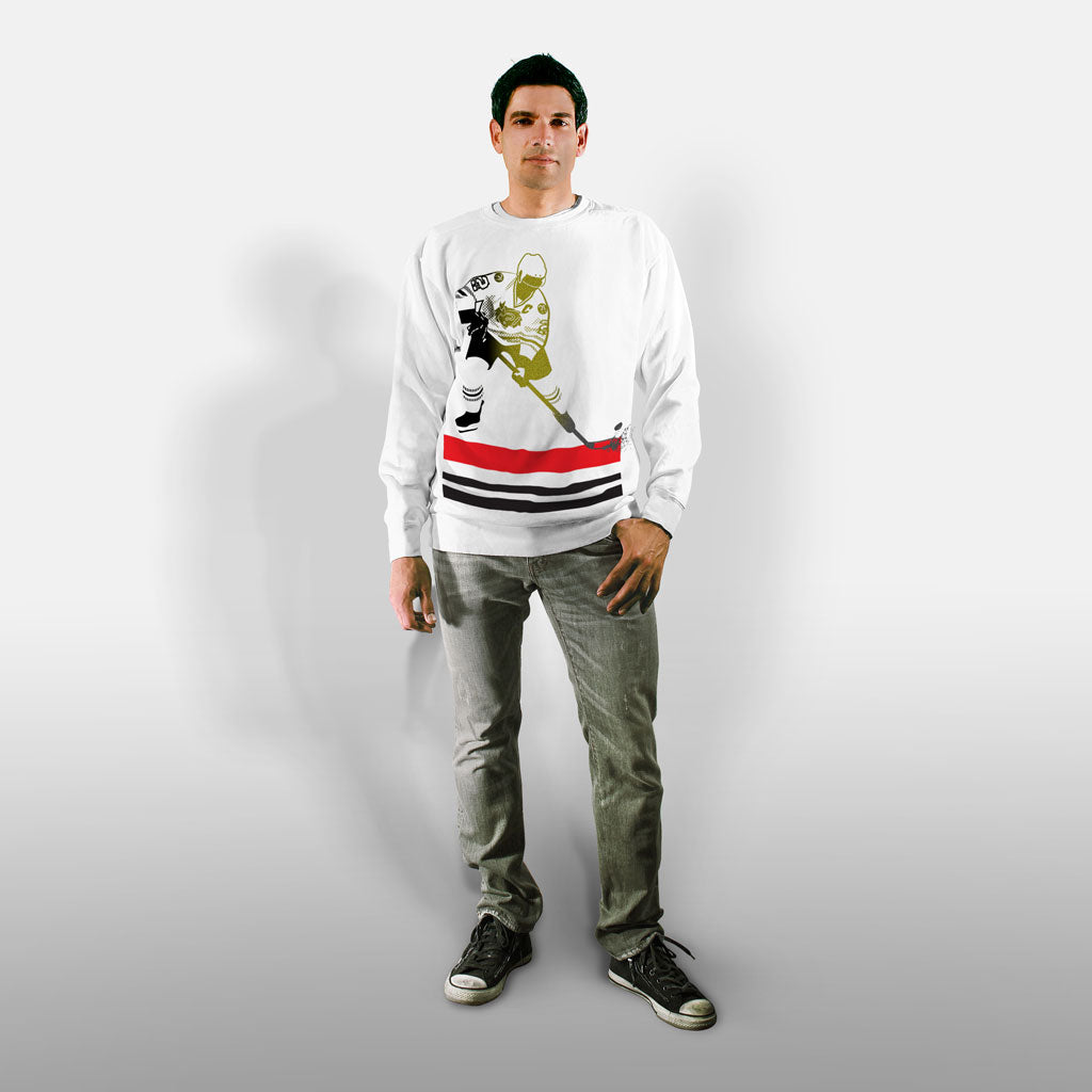 Model wearing Stick it Wear?! 'WHY SO SSSERIOUS' Hockey Front Office sweatshirt in white.