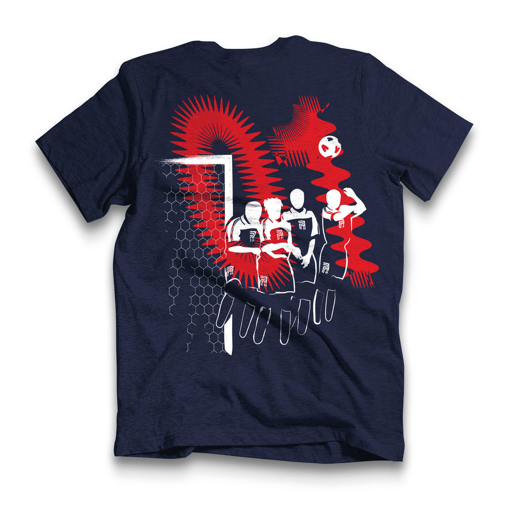 Back of Stick It Wear?! 'WORLD IN MOTION' Soccer Crew Neck t-shirt in navy.