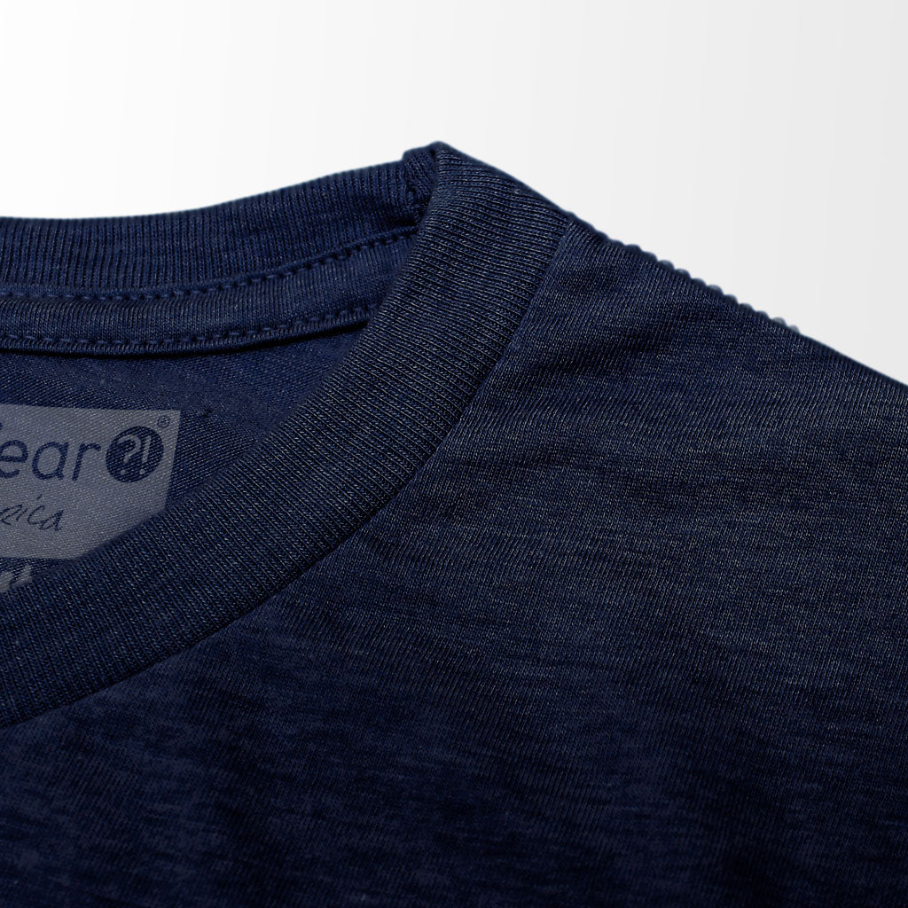 Collar of Stick It Wear?! 'WORLD IN MOTION' Soccer Crew Neck t-shirt in navy.
