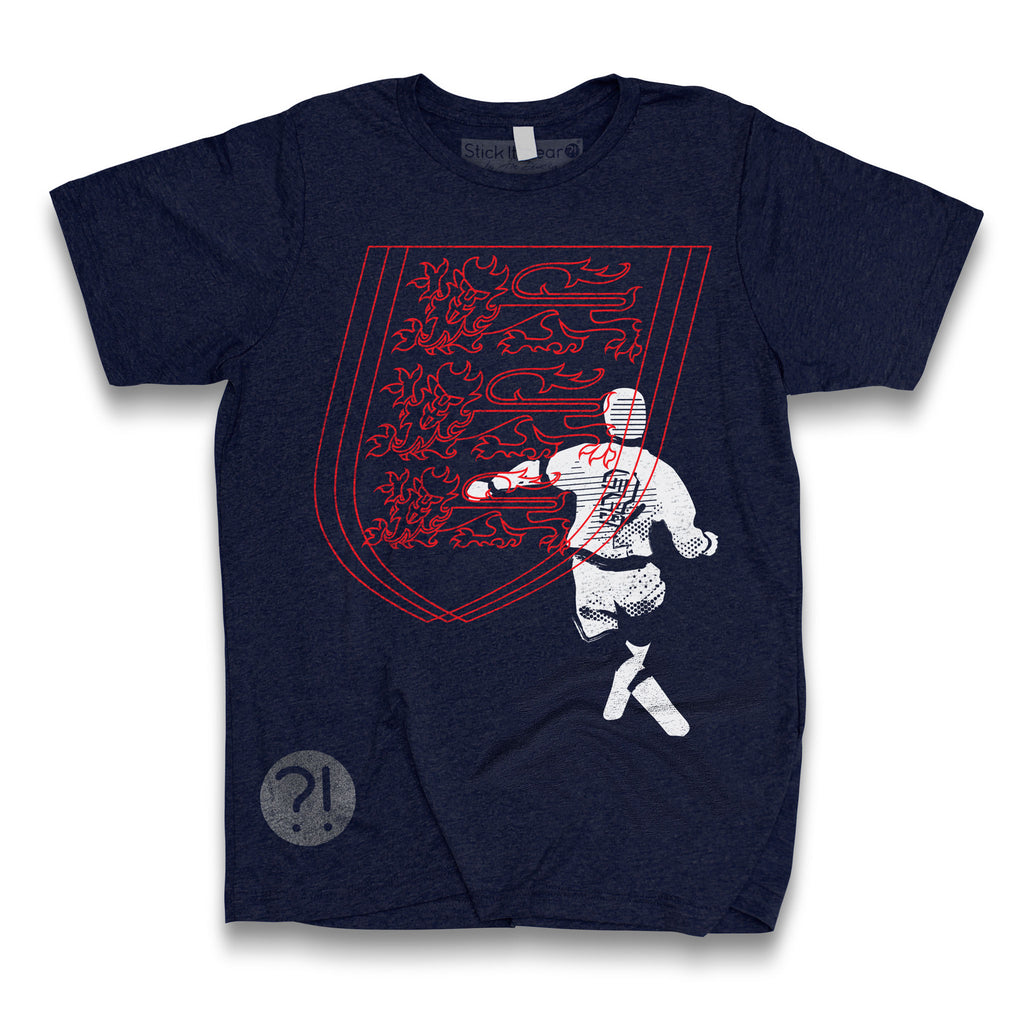 Front of Stick It Wear?! 'WORLD IN MOTION' Soccer Crew Neck t-shirt in navy.