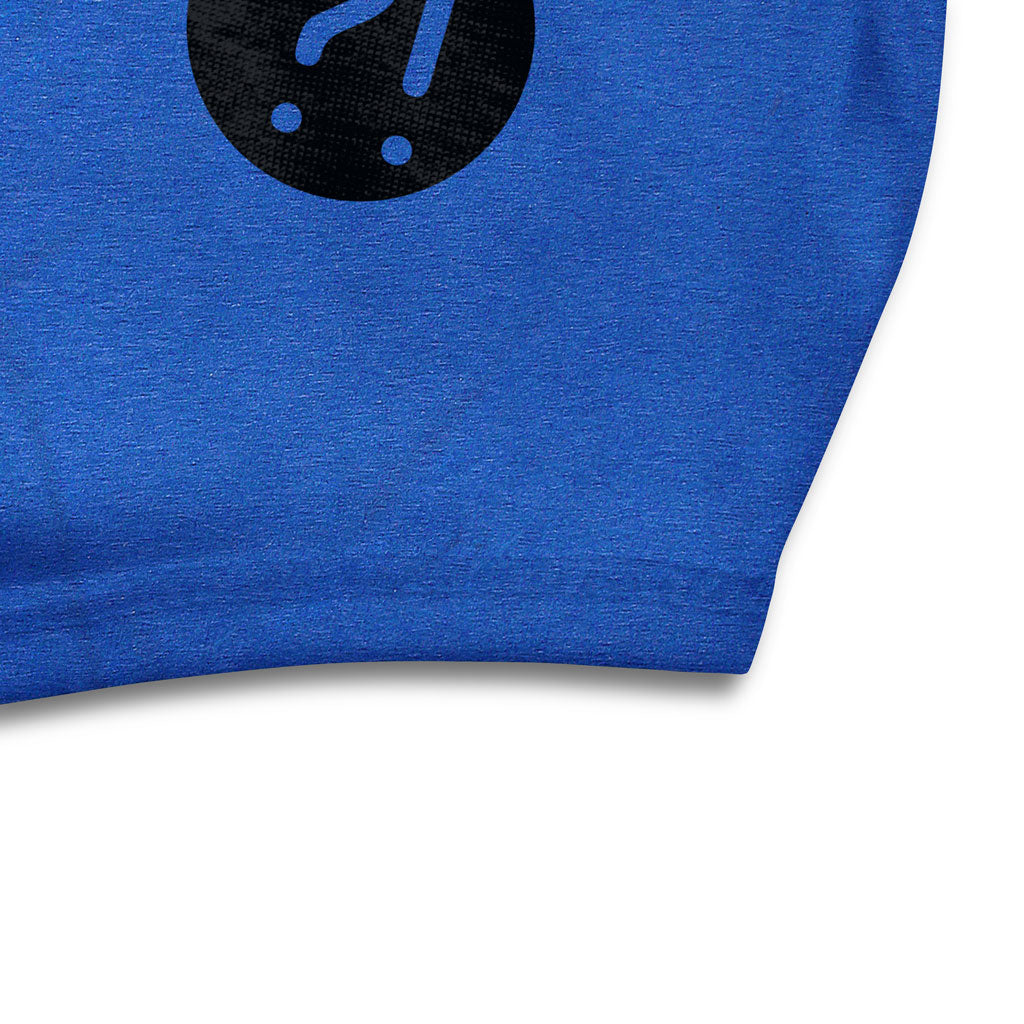 Bottom hem of Stick it Wear?! 'CITY COURT' Womens Tennis Open Neck Tee in royal blue.